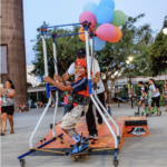 Custom built skateboard rig for kids with CP and other disabilities